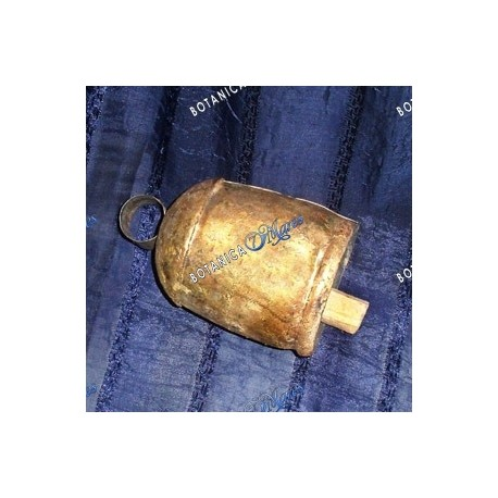"Tin Cow bell in gold tone 4 1/2"" H x 3"" W"