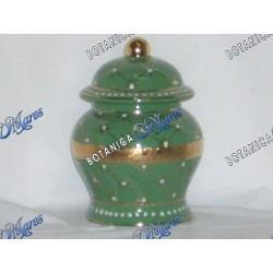 """Small Green Jar with Golden Band 6""""x4"""""""