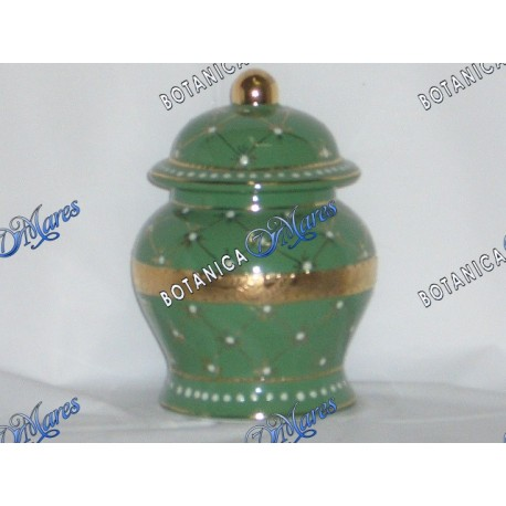 "<p>small jars green and gold H 6"" x W 4""</p>"