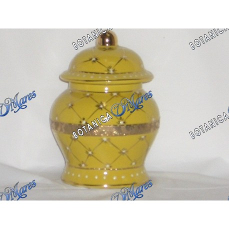 "<p>small yellow and gold jar H 6"" x W 4""</p>"