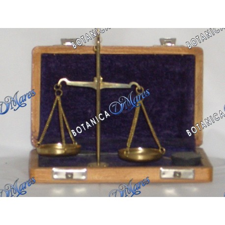 <p>brass scale with weight in wooden box</p>