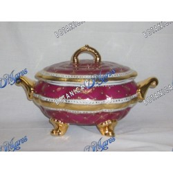 Medium Dark Red and Gold Soup Tureen Porcelain