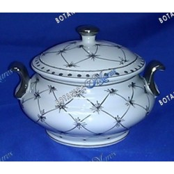 "<p>white and silver decor round jar 9""W x 8""H</p>"