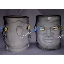 "<p>Two face elegua or echu head in cement 4""H x 3""W x 2 3/4"" D X 2 1/4 hole each face is in the oposet side of the cement.</p>"