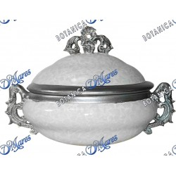 """White and Silver Soup Tureen 14"""" x 10"""" x 9"""""""