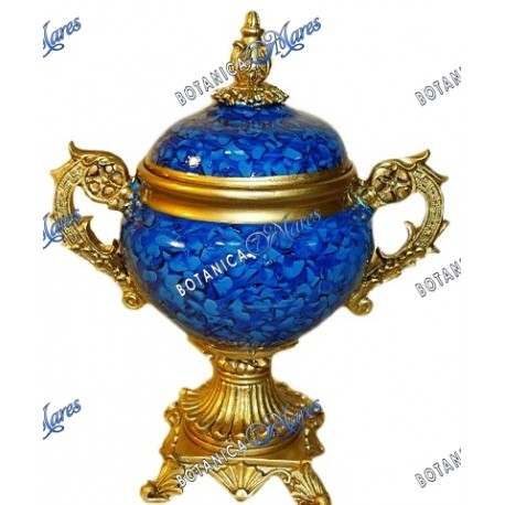 "Blue & Gold Urn Porcelana 13.5"" x 11.5"" x 6.5"""