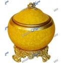 Yellow & Gold Ceramic Jar Porcelain