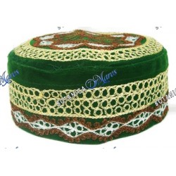 Prayer Hat Embroidery Green /White /Gold /Brown