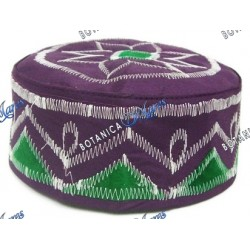 Gorro Purpura Bordado - Blanco y Verde