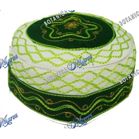 Prayer Hat Embroidery White - Green and Gold