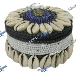 "BEADED ROUND BOX 3"" AZUL, NEGRO &BLANCO"
