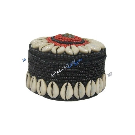 Beaded with shells Round Box Black/Red Elegua