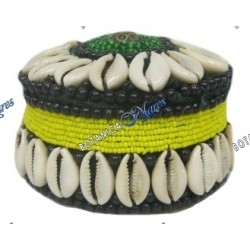 "BEADED ROUND BOX 3"" NEGRO, VERDE & AMARILLO"