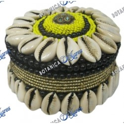 "Beaded and shells round box 3"" black, yellow, gold"