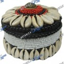 "BEADED ROUND BOX 3"" NEGRO, BLANCO Y ROJO"