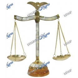 Brass scale, With Wooden Base and Mother of Pearl