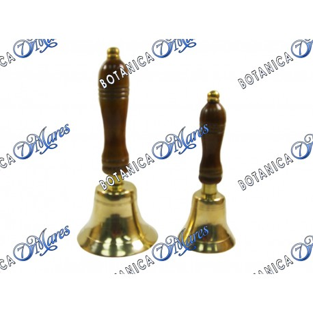 BRASS BELL WOODEN HANDLE 8""