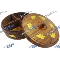 Powder box for Orula with brass elephants