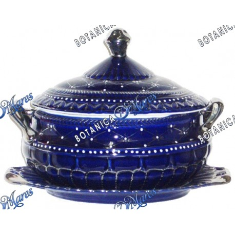 """Soup Tureen for Yemaya with Plate (Golden Accents) 10""""H x 13""""W"""