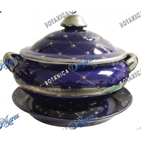 "Blue Soup Tureen with Silver Band with Plate 13.5"" W x 9""H"