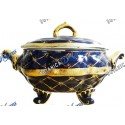 Medium Blue and Gold Soup Tureen
