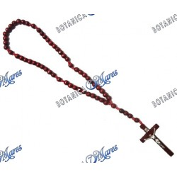 "Large Handmade Wooden Rosary - 22""-24"" Cherry Color"