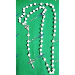 "Large Plastic Rosary - 22""-24"" White"