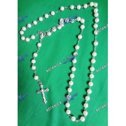 "Large Plastic Rosary - 22""-24"" White Pearl"