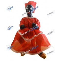 "Francisca 13""H x 7""W Ceramic dress in Red with wooden chair"