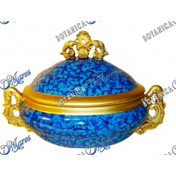 "Blue & Gold Soup Tureen 14"" x 10"" x 9"""