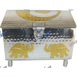 "CHEST ODDUWA WITH BRASS ELEPHANTS 10"" x 7.5""x 7' x 6'"