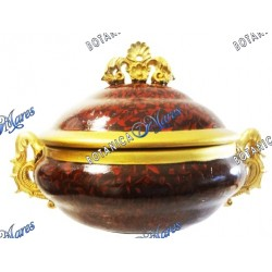 """Wine and Gold Soup Tureen 14"""" x 10"""" x 9"""""""