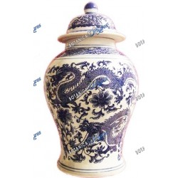 """Temple Jar Olokun with Dragons -Potiche 18"""""""