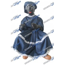 "Francisca 24"" Ceramic dress in Dark Blue with wooden chair"
