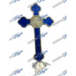 "Crucifijo Azul de metal con base 5.5""H 3''W"